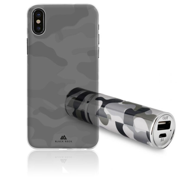 Διάφανη Θήκη Black Rock Camouflage για iPhone X + Army Powerbank Puro 2200mAh