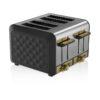 Swan 4 Slice Metal Toaster - Μαύρο - - SK14080BLKN