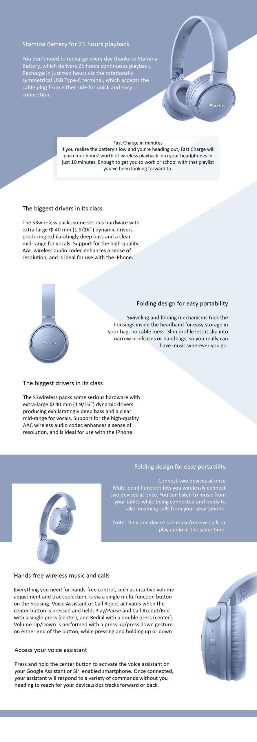 Pioneer S3 Wireless Stereo Headphones - Μπλε - - SE-S3BT-L