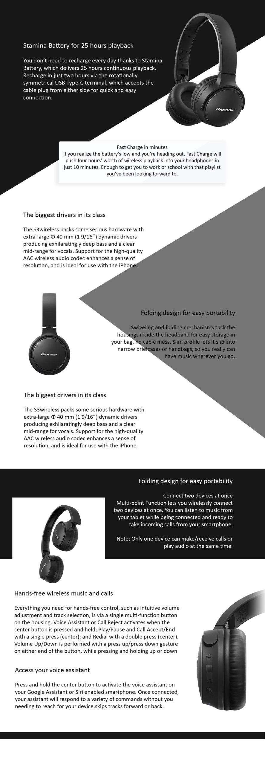 Pioneer S3 Wireless Stereo Headphones - Μαύρο -  - SE-S3BT-B