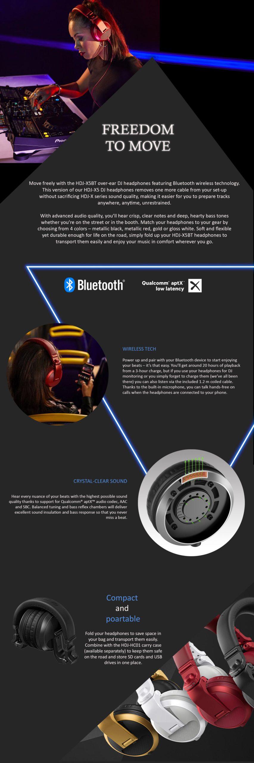 Pioneer HDJ-X5BT Headphones With Bluetooth - Κόκκινο - - HDJ-X5BT-R