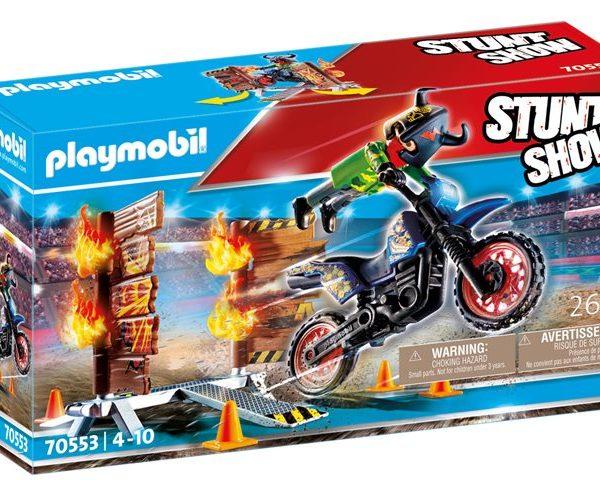 Playmobil Μηχανή Motocross με φλεγόμενο τοίχο