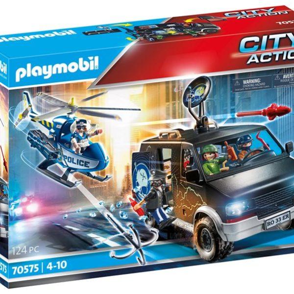Playmobil Αστυνομικό ελικόπτερο και ληστές με βαν