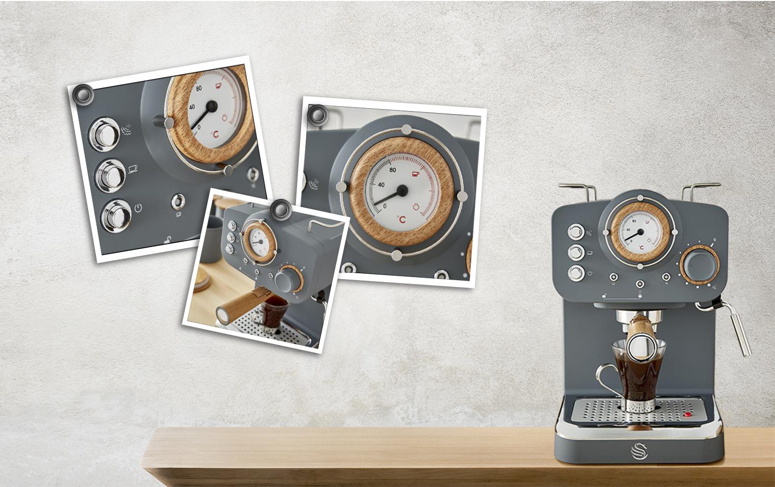 Swan Pump Espresso Coffee Machine - Γκρι - - SK22110GRYN
