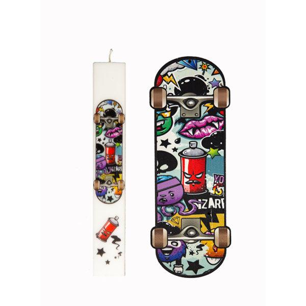 Σετ Λαμπάδα Με Kαδράκι Skateboard