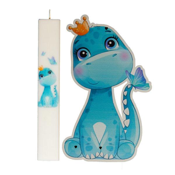 Σετ Λαμπάδα Με Kαδράκι Dino Boy Blue