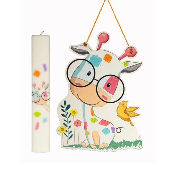 Σετ Λαμπάδα Με Kαδράκι Cute Giraffe
