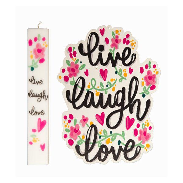 Σετ Λαμπάδα Με Kαδράκι Live Love Laugh